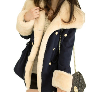 Women's Solid Slim Thick Double Breasted  Coats