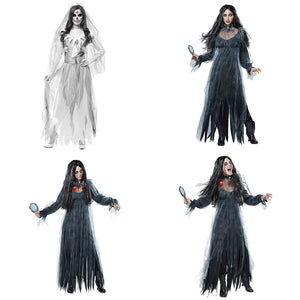 Women Cosplay Halloween Costume Horror Ghost Dead Corpse Zombie Bride Dress - monach-butterfly