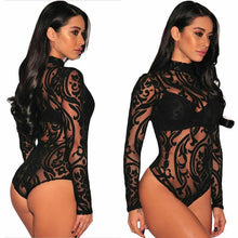 Load image into Gallery viewer, Women Sexy Sheer Mesh Lace Jumpsuit leoptard Long Sleeve Top Turtleneck Bodysuit USA - monach-butterfly