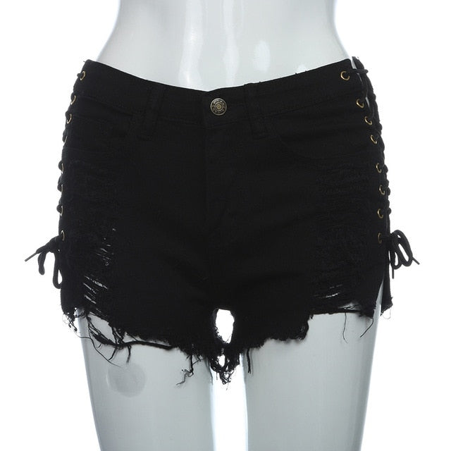 Ripped  High Waist Jeans Denim Shorts with side lace - monach-butterfly