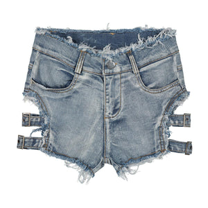Sexy Summer High Waist  Ripped Hole Denim Shorts - monach-butterfly