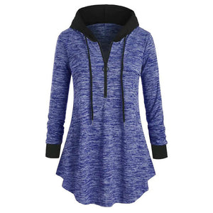 Long Sleeve Hooded Tunic Tops  hooded sweatshirt