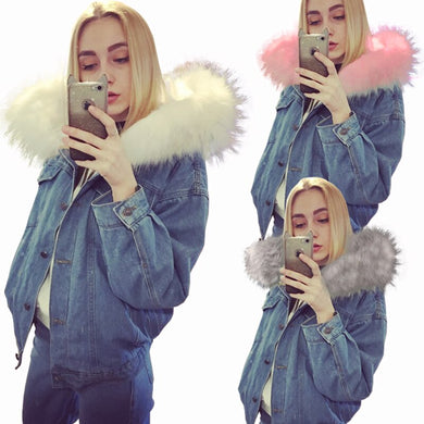 Denim Jeans Jackets with fur hoodie