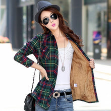 Load image into Gallery viewer, Women's Velvet Thicke Plaid Shirt  Jacket