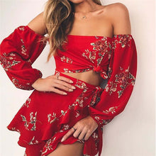 Load image into Gallery viewer, Two Piece Floral Print Set  Sexy Off Shoulder Ruffles Tops and Skirts