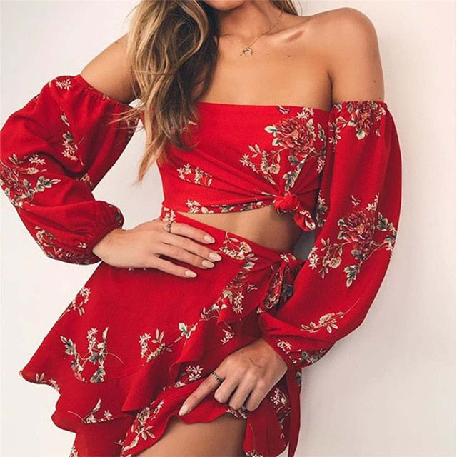 Two Piece Floral Print Set  Sexy Off Shoulder Ruffles Tops and Skirts