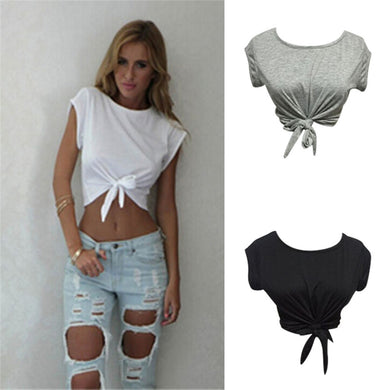 Women Knotted  Front tie Crop Tops Cropped T Shirt Casual Blouse - monach-butterfly