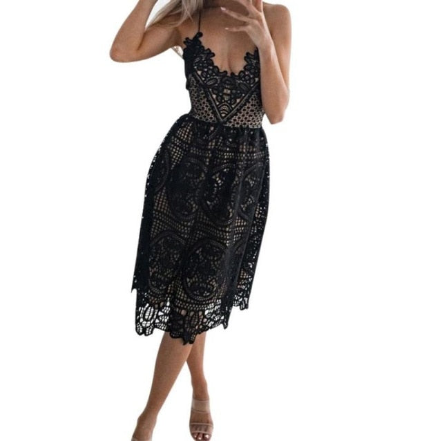 Sexy Party Dress Women Summer Deep V Neck Backless Lace Dresses - monach-butterfly