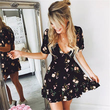 Load image into Gallery viewer, Women Mini Boho Floral Dress - monach-butterfly