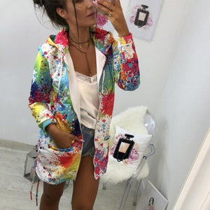 Women's Outerwear & Coats Jackets Fashion Tie dyeing Print - monach-butterfly
