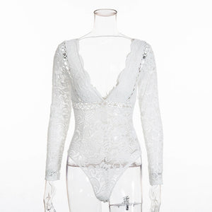 Cryptographic Hot mesh lace bodysuit women body suit hollow out sexy long sleeve leotard - monach-butterfly