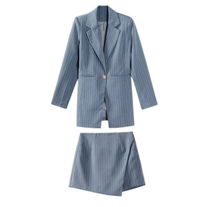 Women Skirt Suits One Button Notched Striped Blazer Jackets and mini Skirts - monach-butterfly