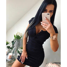 Load image into Gallery viewer, Women's Knit Sheath Solid V Neck Chest Button Short Sleeve Bodycon Mini Dress - monach-butterfly