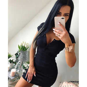 Women's Knit Sheath Solid V Neck Chest Button Short Sleeve Bodycon Mini Dress - monach-butterfly