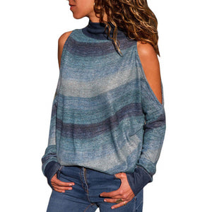 Women Blouses Sexy Cold Shoulder Tops Casual Turtleneck Knitted Top Jumper Pullover Print - monach-butterfly