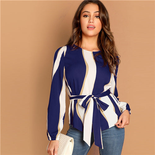 Women's Navy Self Belted Striped Scoop Neck Shirt Pullovers - monach-butterfly