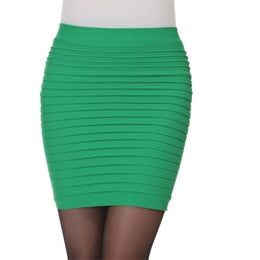Women Skirt High Waist Candy Color Plus Size Elastic Pleated Sexy Short Skirt - monach-butterfly