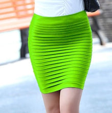 Load image into Gallery viewer, Women Skirt High Waist Candy Color Plus Size Elastic Pleated Sexy Short Skirt - monach-butterfly