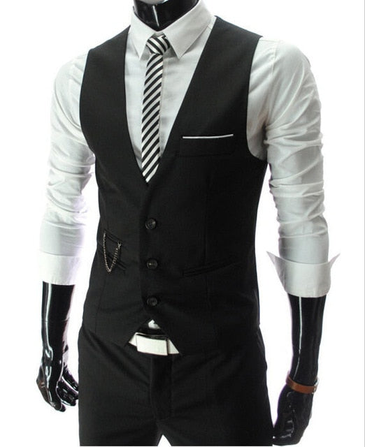 Slim Fit Mens Suit Vest Male Waistcoat Gilet Homme Casual Sleeveless Formal Business Jacket - monach-butterfly