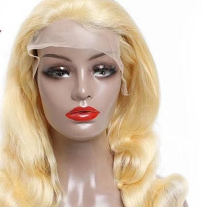 Blond Ombre  Remy Brazillian Body Wave Preplucked Lace Wig Human Hair - monach-butterfly