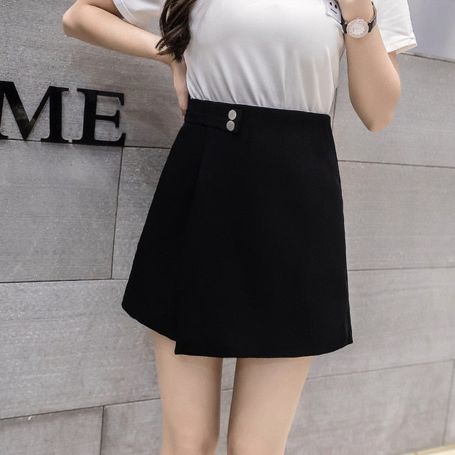 Women Shorts Skirts  High Waist Shorts Female Casual Loose Culottes Woman Black/Pink/White Summer Shorts - monach-butterfly