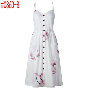 Summer Women Dress 2019 Vintage Sexy Bohemian Floral Tunic Beach Dress Sundress Pocket Red White Dress Striped Female Brand Ali9 - monach-butterfly