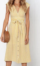 Load image into Gallery viewer, Vintage Stripe Print Midi Apron Dress - monach-butterfly