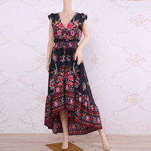 Load image into Gallery viewer, New Women Summer Boho Beach Maxi Dress Sexy V Neck Vintage - monach-butterfly