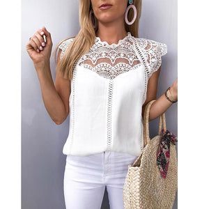 Women's Lace Patchwork Sleeveless Solid Shirt - monach-butterfly