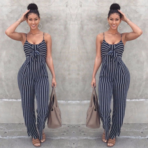 Women Fashion Sexy Summer Party Stripe Sleeveless Jumpsuit Romper Top Outfits - monach-butterfly