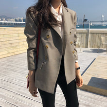 Load image into Gallery viewer, Plaid Double Breasted Women Jacket Blazer Notched Collar Female Suits Coat - monach-butterfly