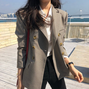 Plaid Double Breasted Women Jacket Blazer Notched Collar Female Suits Coat - monach-butterfly