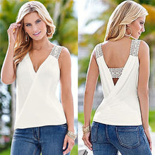 Load image into Gallery viewer, Women V summer Chiffon blouses low cut sleeveless shirt - monach-butterfly