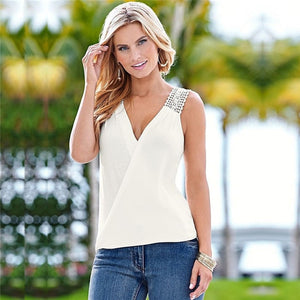 Women V summer Chiffon blouses low cut sleeveless shirt - monach-butterfly