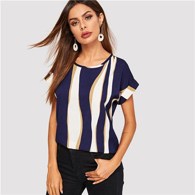Women Cuffed Sleeve Color Block Round Neck Roll Up Sleeve Blouse Chic Summer Short Sleeve Women Blouses - monach-butterfly