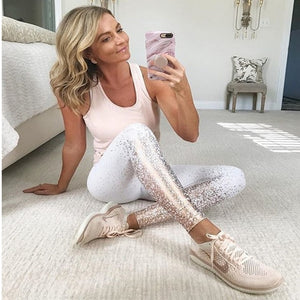 Metallic Foil Print  Patchwork Push Up Leggings