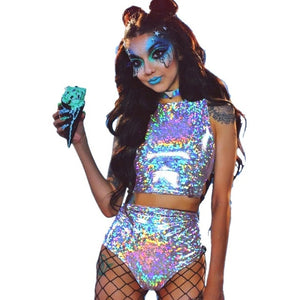 Holographic Crop Top and Hot Shorts Women 2 Piece Sets Sexy Lace Up - monach-butterfly