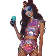 Load image into Gallery viewer, Holographic Crop Top and Hot Shorts Women 2 Piece Sets Sexy Lace Up - monach-butterfly