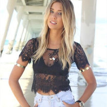 Load image into Gallery viewer, Womens Short Sleeve Elegant Crochet Lace crop top - monach-butterfly