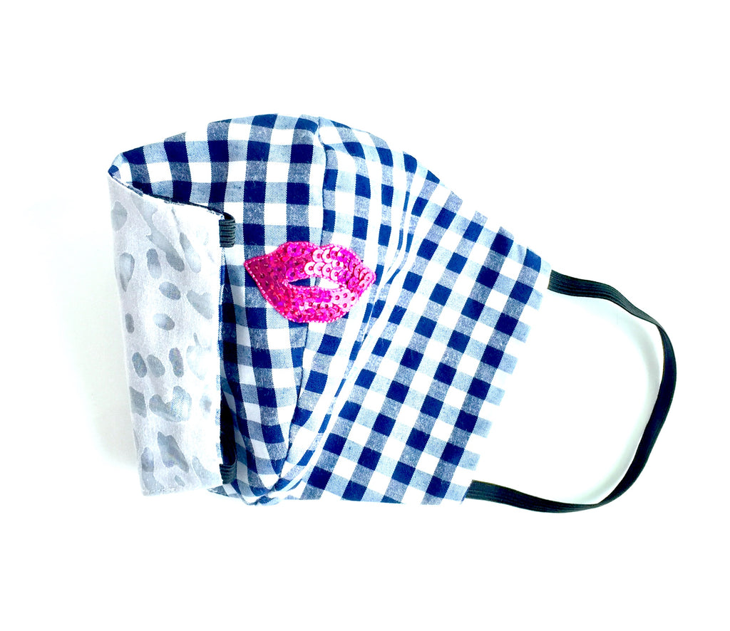 Navy gingham check face mask