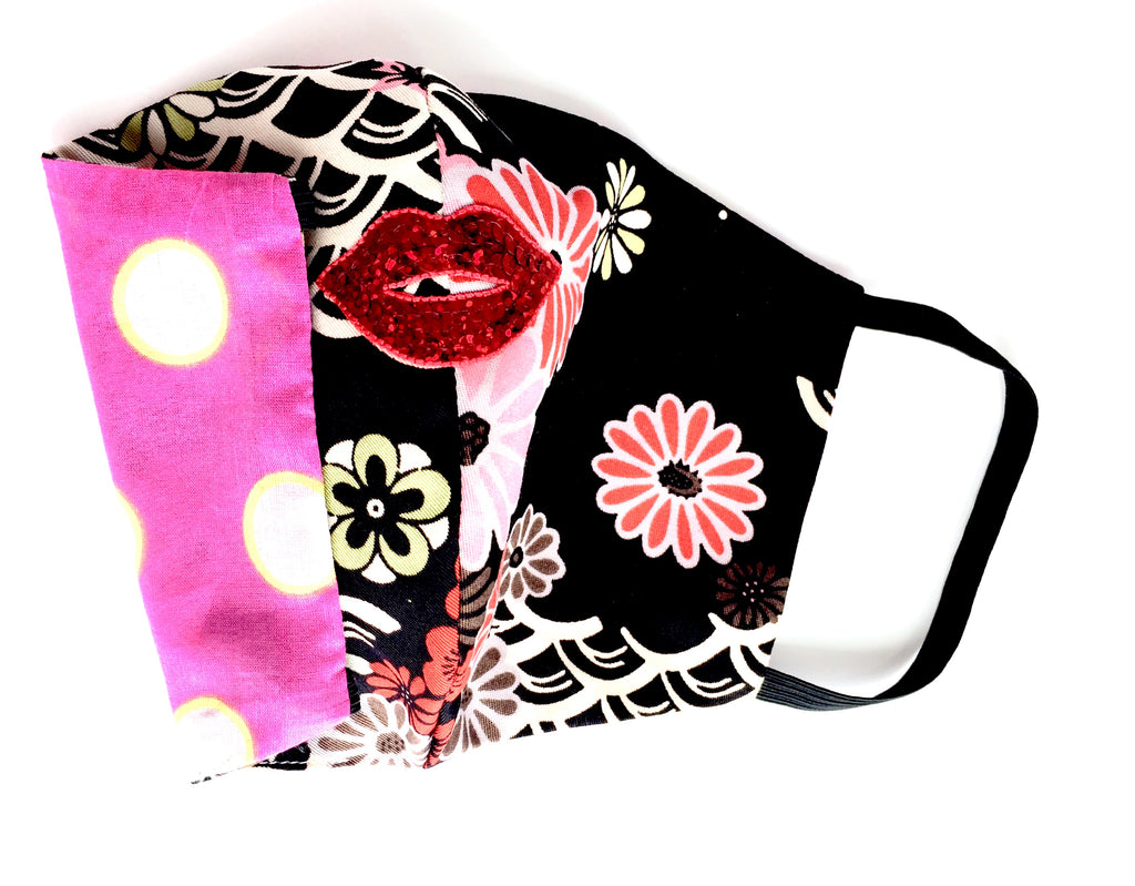 Black Floral Face Mask - Jacqui Stafford