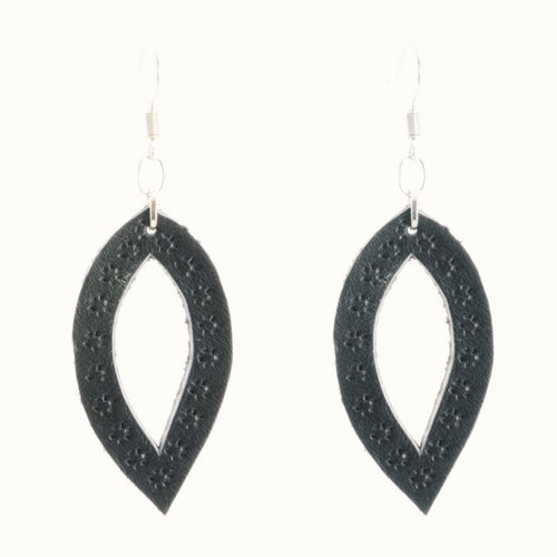 Handmade Oval Leather Earrings in Black or Brown From Guatemala