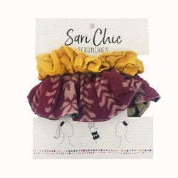 Sari Chic Scrunchies, Set of 2 Sustainable and Handmade (pattern/color vary)