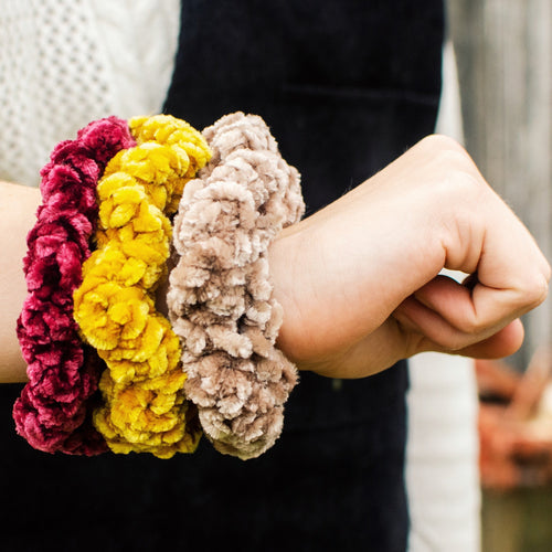 Crocheted Velvet Scrunchies (Set of 3)