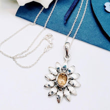 "Load image into Gallery viewer, Handcrafted Sterling Silver With Citrine Gem Necklace, ""Sunflower"""