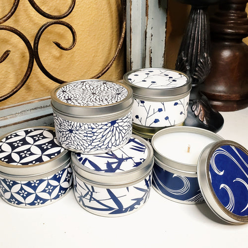 Blue And White Collection Candles Handmade by Refugee Women