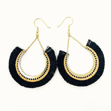 Load image into Gallery viewer, Handmade Black Fringe Earrings