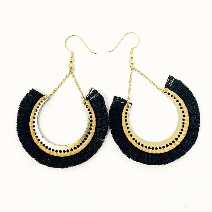 Handmade Black Fringe Earrings