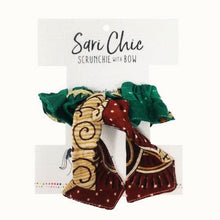 Load image into Gallery viewer, Sari Chic Scrunchie with Bow Sustainable and Handmade (patterns/color vary)