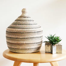 Load image into Gallery viewer, Handcrafted Black, Silver & White Striped Warming Basket from Africa